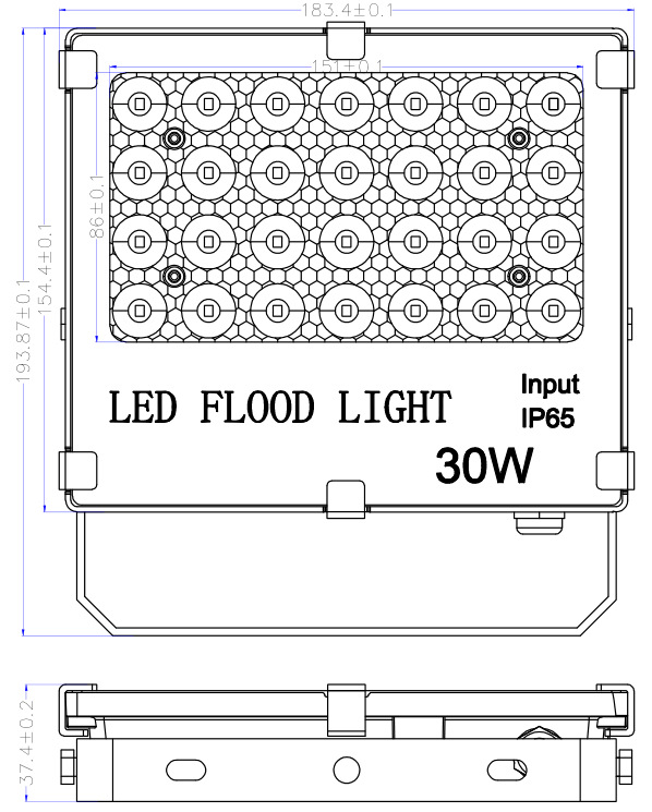 outdoor 30W led flood light size