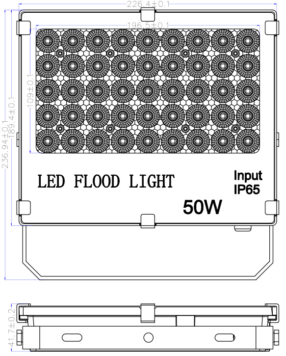 50W led flood light size
