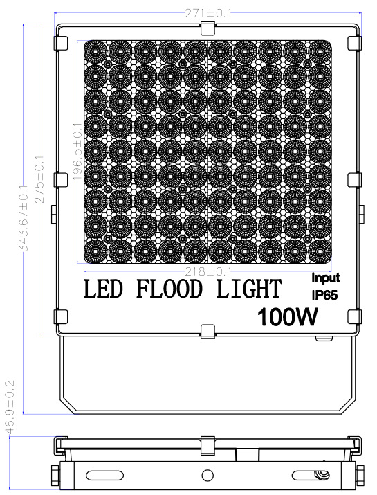 100w led flood lights size