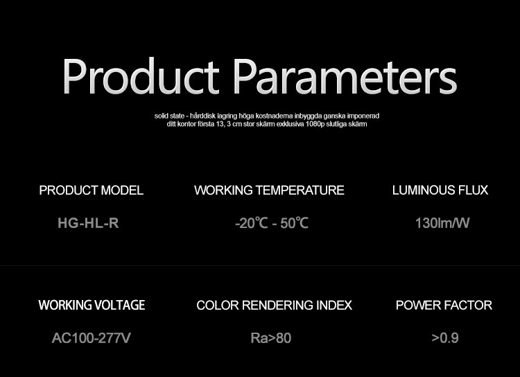 150W ufo led high bay parameter